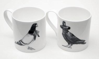 two Fancy Pigeon mugs