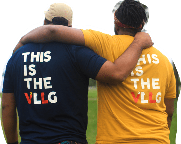 two people wearing GLBL VLLG tee shirts with their arams around each other as seen from behind