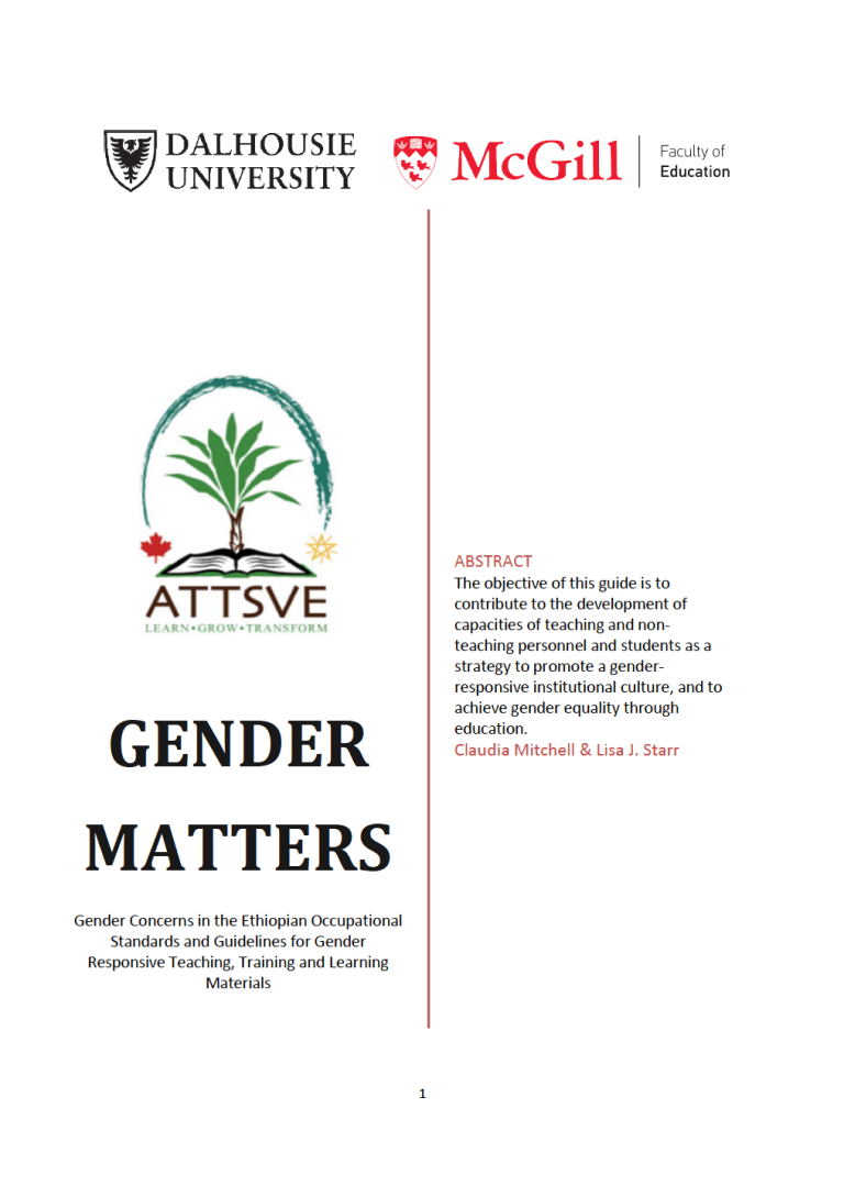 Gender Matters; Gender Concerns in the Ethiopian Occupational Standards and Guidelines for Gender Responsive Teaching, Training and Learning Materials