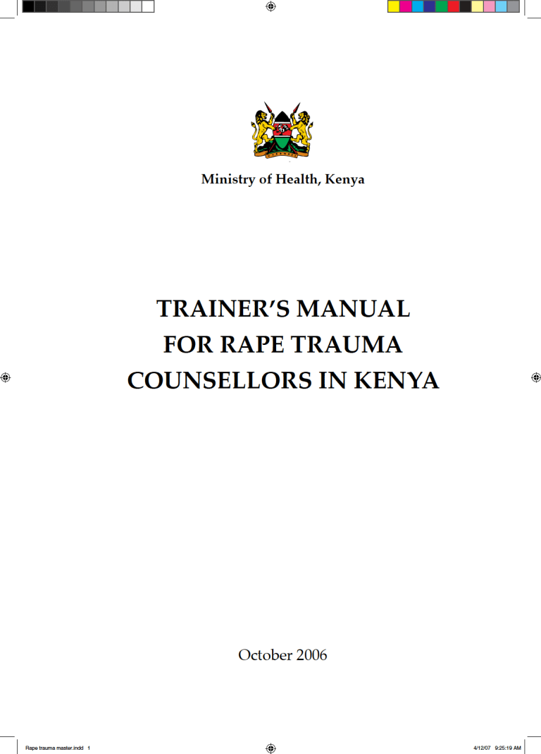 Trainer's Manual for Rape Trauma Counsellors in Kenya