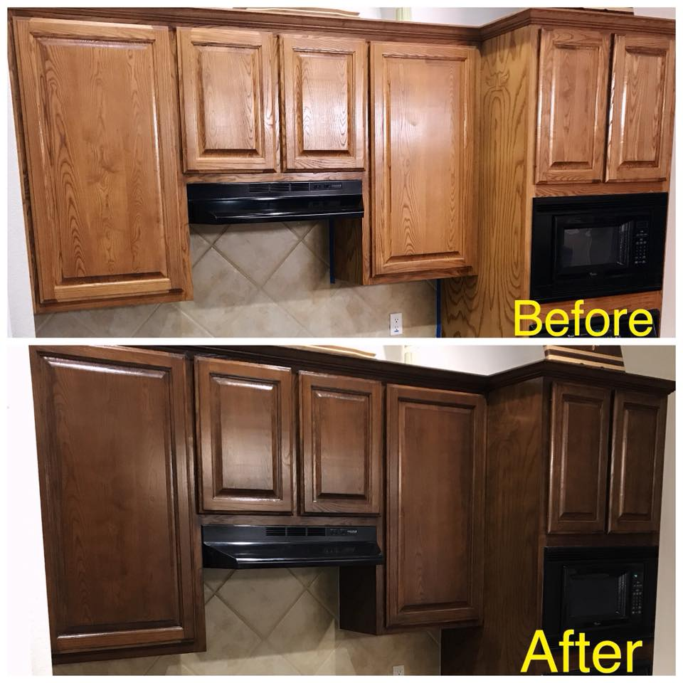 kitchen cabinet stain price pfister faucet repair staining refinishing change the color of your cabinets and other woodwork