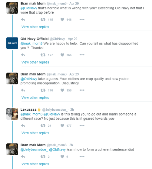 white genocide in Old Navy's mentions
