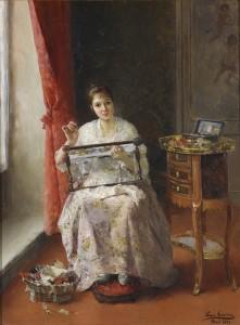 Luis-Jiménez-Aranda-Young-Woman-Embroidering1891