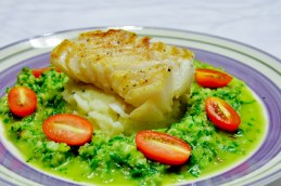 Seared Fish with Cucumber Sauce over Mashed Potatoes