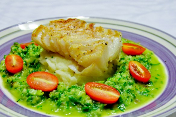 Seared Fish with Cucumber Sauce