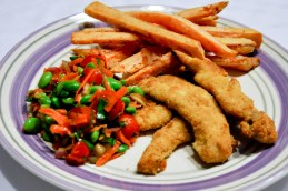 Chicken Fingers with Yam Fries and Edamame Salad