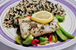 Poached Fish with Wild Rice