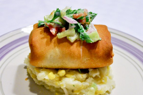 Phyllo-Wrapped Cod with Cucumber Salsa and Mashed Potatoes