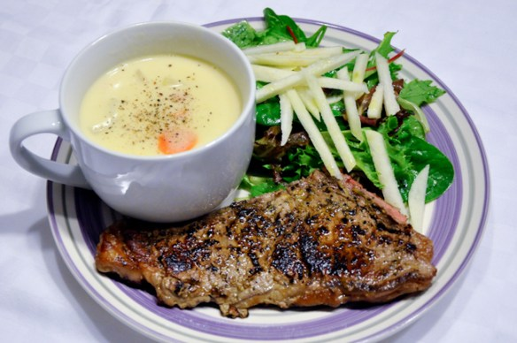Creamy Potato Soup with Steak & Pear Salad