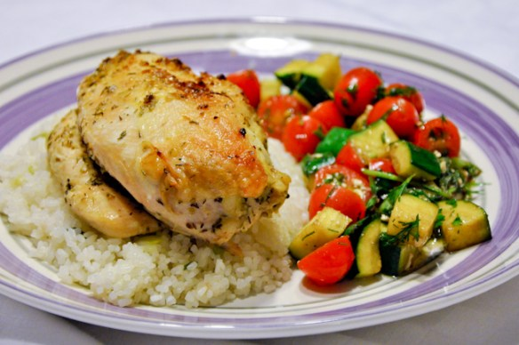 Lemon Chicken with grilled zuchinni tomato salad
