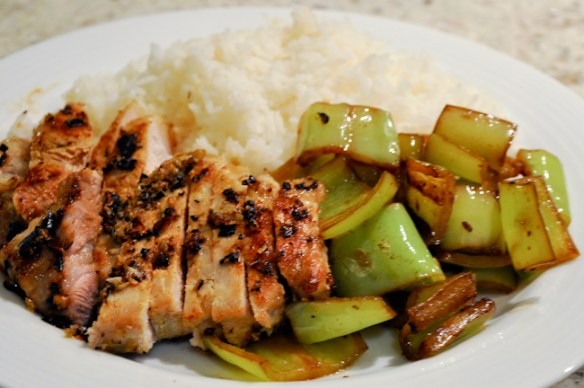 Lemongrass Pork Chops with Soy Sauce Peppers