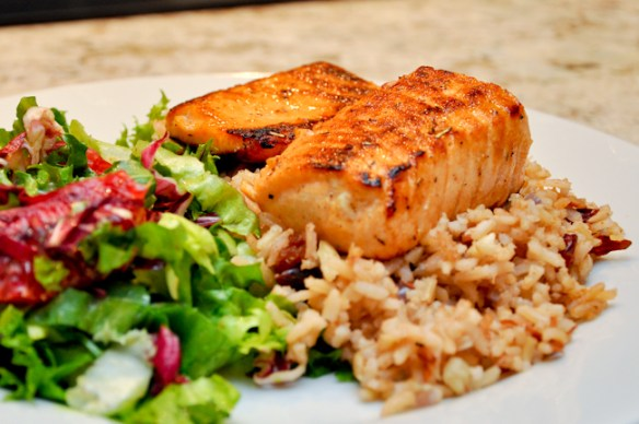 Salmon with Orange Salad over Brown Rice