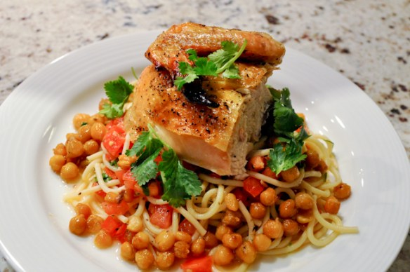 Spatchcocked Chicken with Chickpeas over Spaghetti_