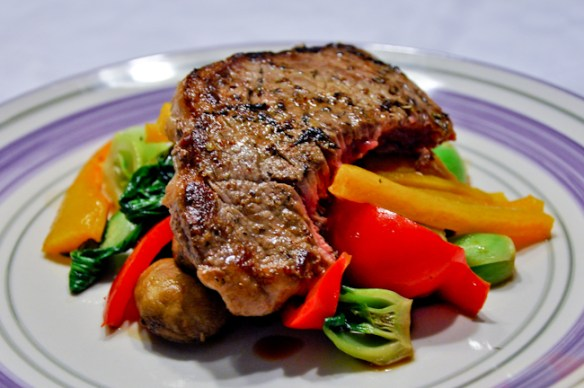 Steak Over Grilled Vegetables