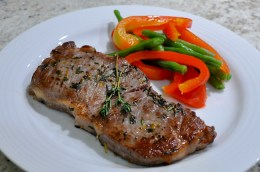 Steak with Poached Vegetables