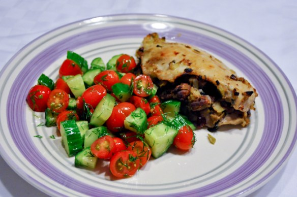 Stuffed chicken breast with tomato dill salad
