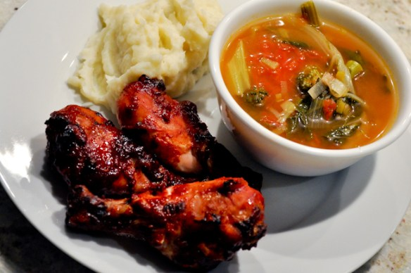 Baked BBQ Chicken with Vegetable Soup