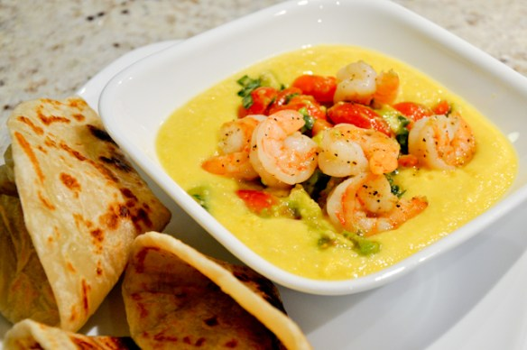 Corn Soup with Shrimp, Avocado and Tomatoes