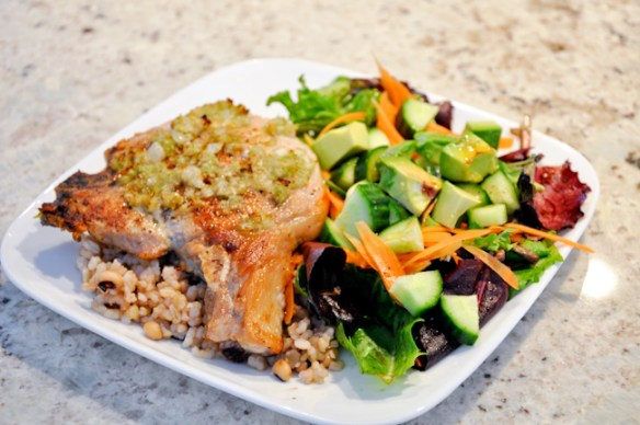 Grilled Pork Chop with Brown Rice Salad