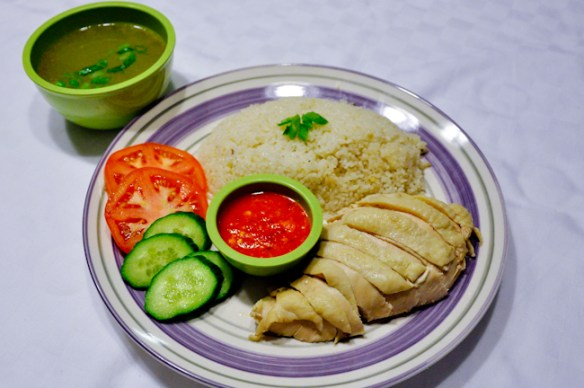 Hainanese Chicken Rice with soup