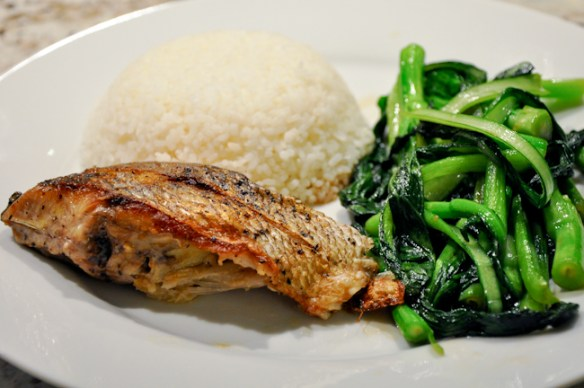 Pan fried Porgy with Oyster Sauce Greens