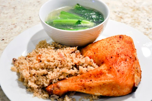 Roasted Chicken with Herb Rice and Baby Mustard Green Soup