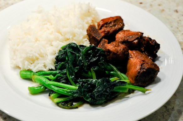 Slow Cook Pork Ribs with Chinese Broccoli