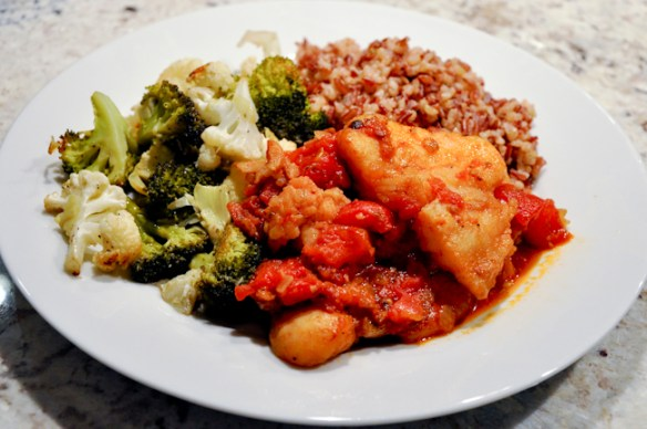 Tomato Cajun Spiced Fish with roasted Broccoli and Cauliflower
