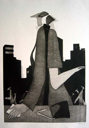 Looking Up in the Sky, Woodblock print, 58 cm x 41 cm, 2004