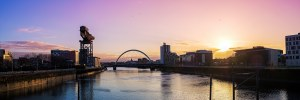 Sunrise over the River Clyde in central Glasgow