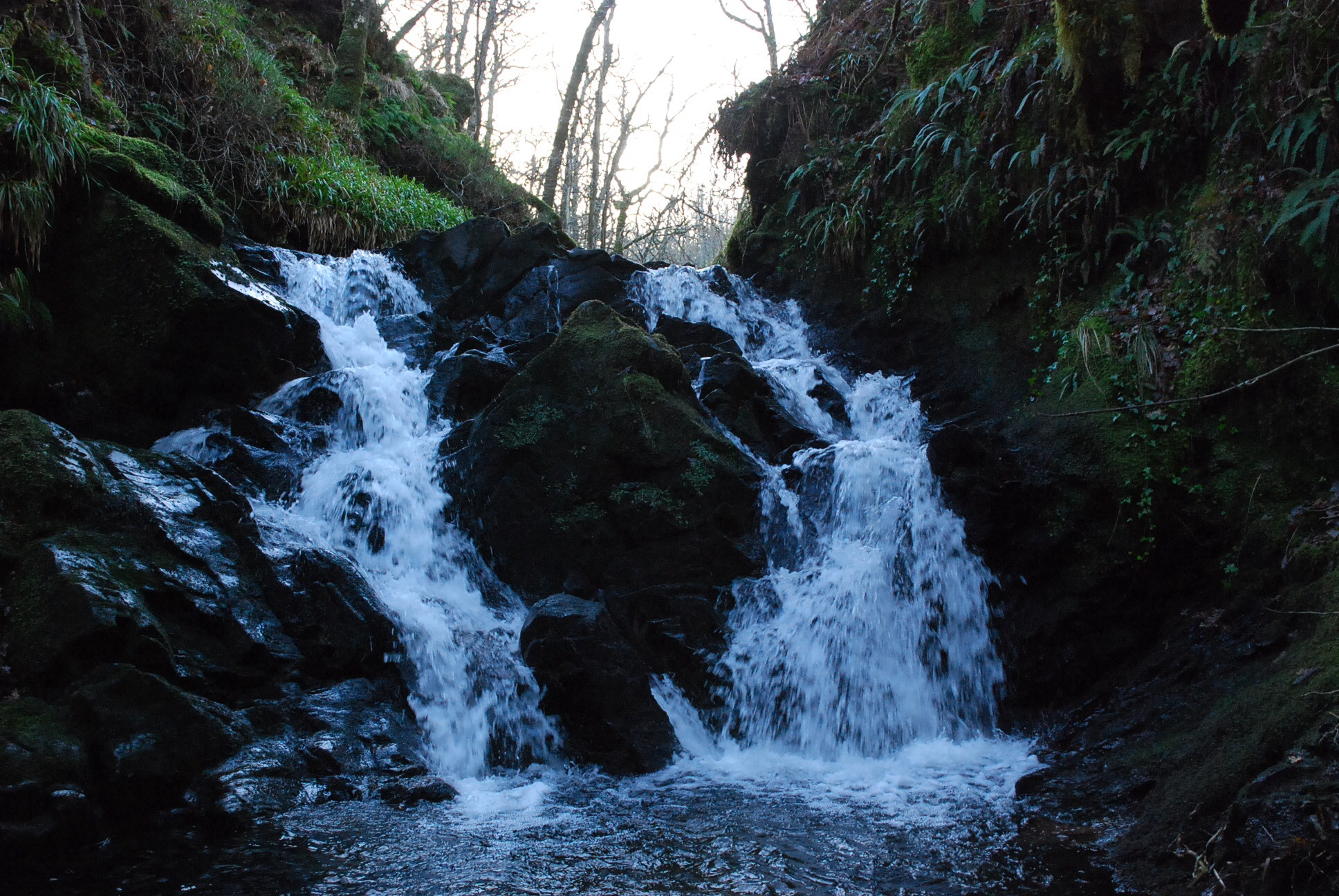 The waterfall at Rhubodach Part of the west island way Walk