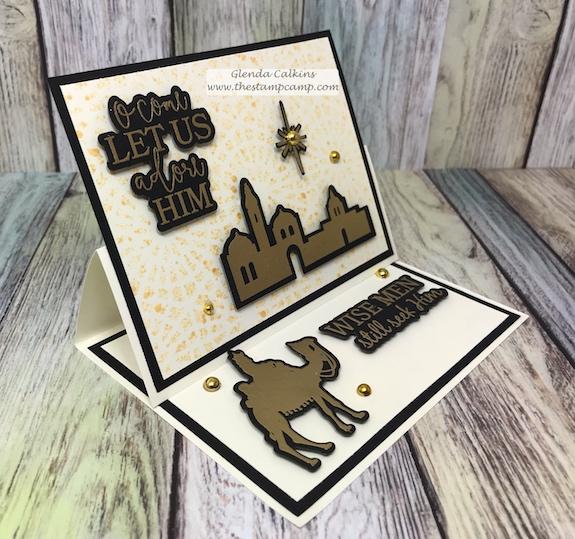 Adore Him stamp set, FSJ, the stamp camp, glendasblog, Easel card, Embossing, rubberstamping, papercrafting #funfold