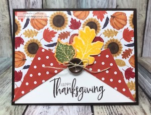 We all love fun fold cards and a way to use up those gorgeous printed papers so that you see both sides of the prints. This fun fold curtain card is perfect for showcasing both sides of the Fall-o-ween prints from FSJ. visit www.shop.thestampcamp.com #funfold, #FSJ, #Thanksgiving, #Fall