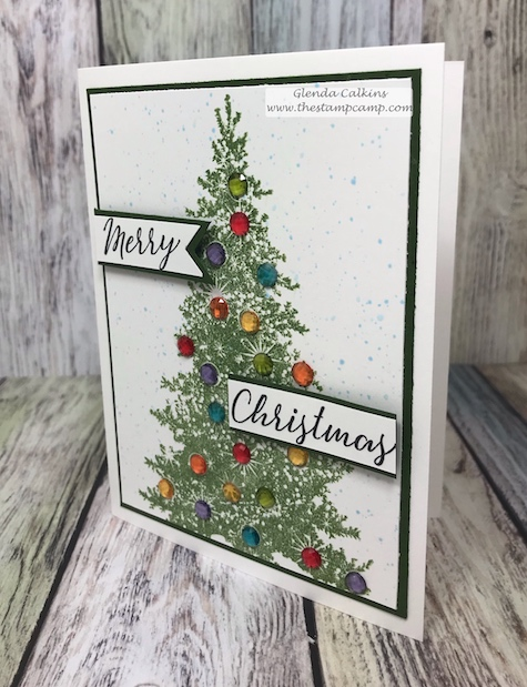 The Sparkle Trim bundle from FSJ makes the most beautiful Christmas Tree cards when you use the Rainbow drops. The jewels make the tree pop and makes me think of when I was growing up. Visit www.thestampcamp.com #Christmas Cards, #Christmasdies