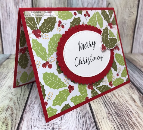 The Cozy Prints paired with the Sparkle Trim stamp set sentiment along with the Spellbinders Fancy Edged Ovals create a beautiful Christmas Card.  Available through www.shop.thestampcamp.com #christmas, #spellbinders, #FSJ, #thestampcamp