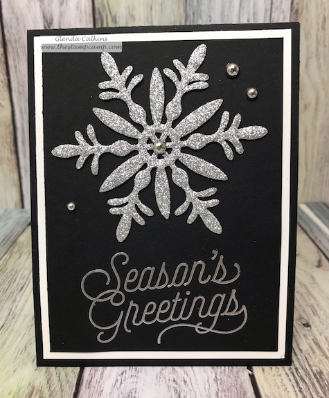 The beautiful sparkle on this snowflake is actually silver sparkle fun foam; die cut with the Snow Blooms dies from Fun Stampers Journey.  Details can be found www.thestampcamp.com #heroarts, #FSJ, #thestampcamp, #christmas