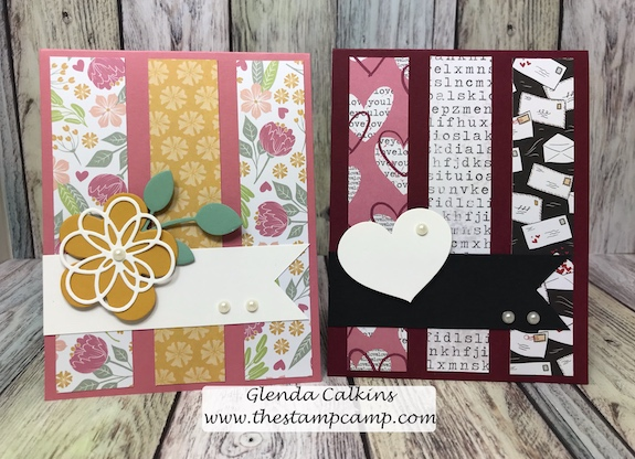 Don't throw those left over printed paper strips away; just look at what you can do with them.  So fun and easy to incorporate those strips onto your card fronts.  #fsj #printedpapers, #thestampcamp #cards