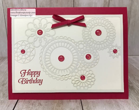 This intricate paper is part of the Delightfully Detailed Laser-Cut Specialty papers from Stampin' Up!  Details on my blog: www.thestampcamp.com #birthday, #stampinup #thestampcamp #handmadecards