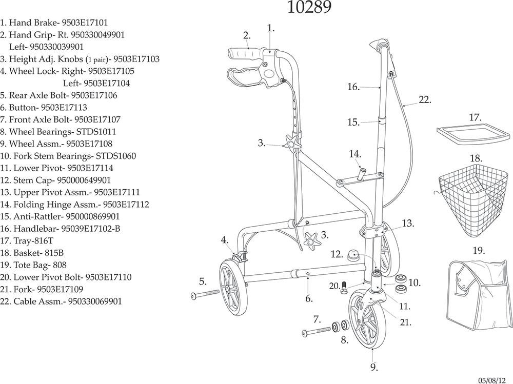 Deluxe 3 Wheel Aluminum Rollator, 8'' Casters with Loop