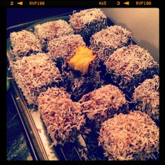 Dan baked lamingtons for our trip.
