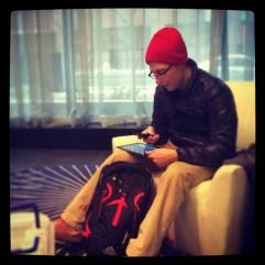Dan waiting in the lobby.