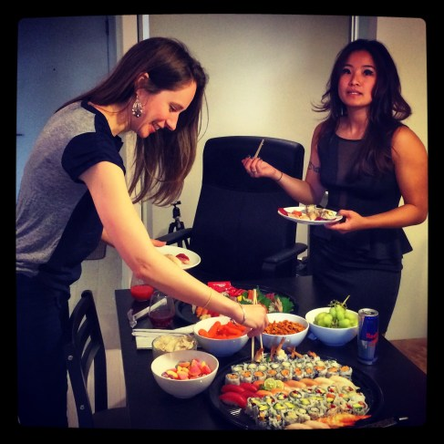 Anna picked up two huge sushi platters. 3 May 2014.