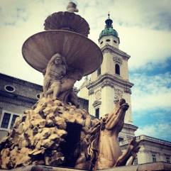 Salzburg Old Town. Horse fountain.