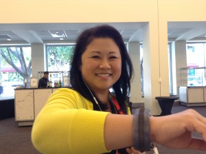 Attendee at Wearable Tech LA at the Pasadena Convention Center wears Compass H2O and a big smile