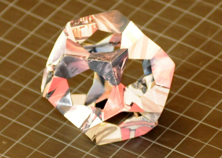 a hollow dodecahedron made of folded paper