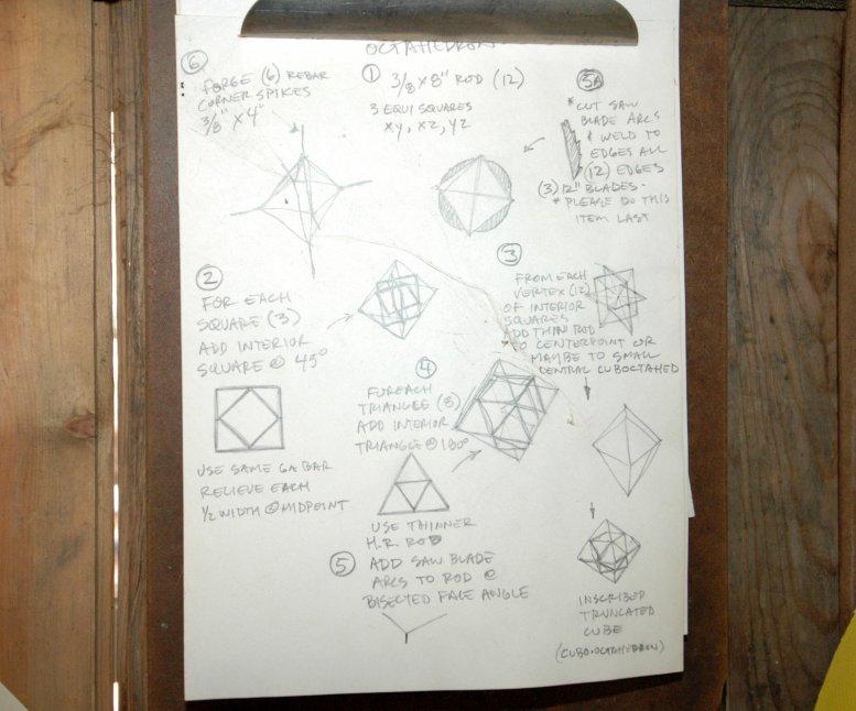 pencil on paper sketch showing plans for making steel sculptures