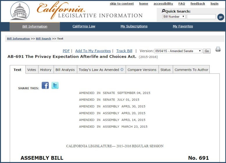 screen cap of California Legislature web page for AB691 -  The Privacy Expectation Afterlife and Choices Act (2015-2016)
