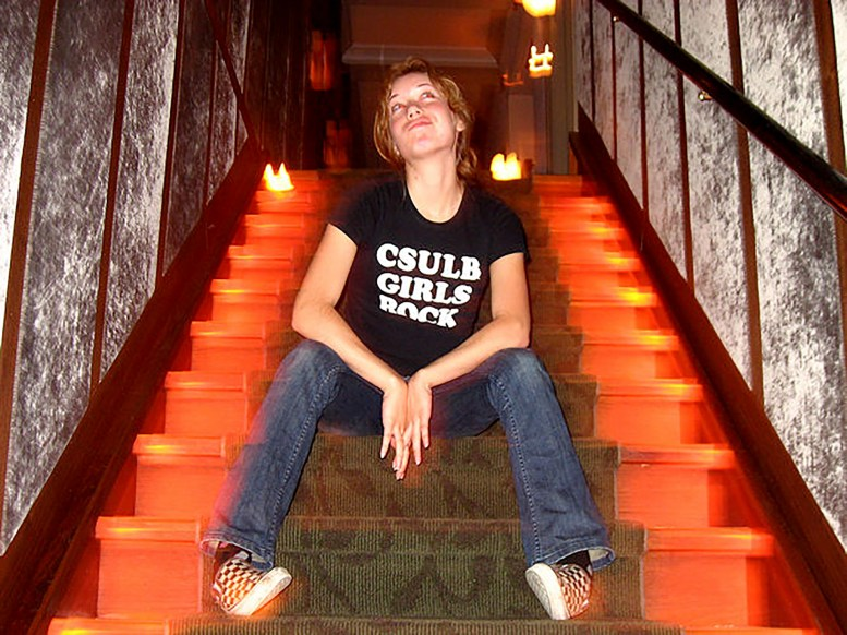 my former student assistant Christine Monet Johnson sitting in the stairwell at the Museum of Jurassic Technology on 20 October 2007. Photo by Dani Dana
