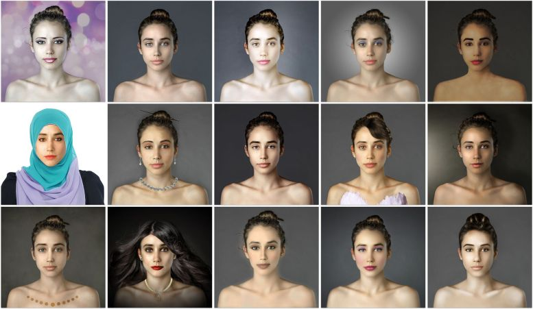 a grid of images of Esther Honig. Each retouched by an artist in a different country.