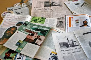 photograph of many magazine and newspaper articles about Darko Maver and his work